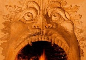 camino mascherone di Villa della Torre di Giulio Romano rinascimentale in prov di Verona